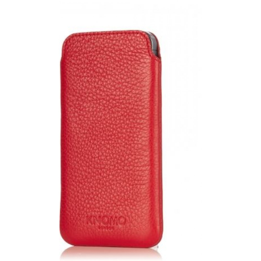 Knomo - Leather Slim Sleeve for iPhone 5c - Scarlet